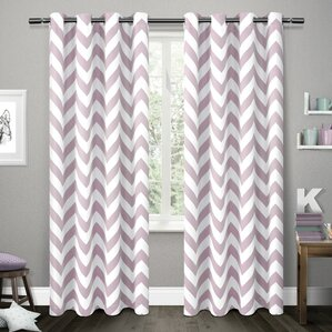 Cardenas Chevron Room Darkening Thermal Grommet Curtain Panels (Set Of 2)