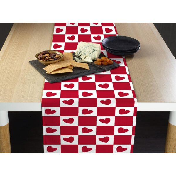 Enger Checkmate Hearts Table Runner by The Holiday Aisle
