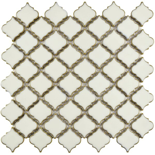 Pharsalia 12.38 x 12.5 Porcelain Mosaic Floor and Wall Tile in Snowcap White by EliteTile