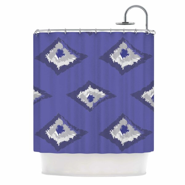 Alison Coxon Denim Ikat Blue Gray Shower Curtain by East Urban Home