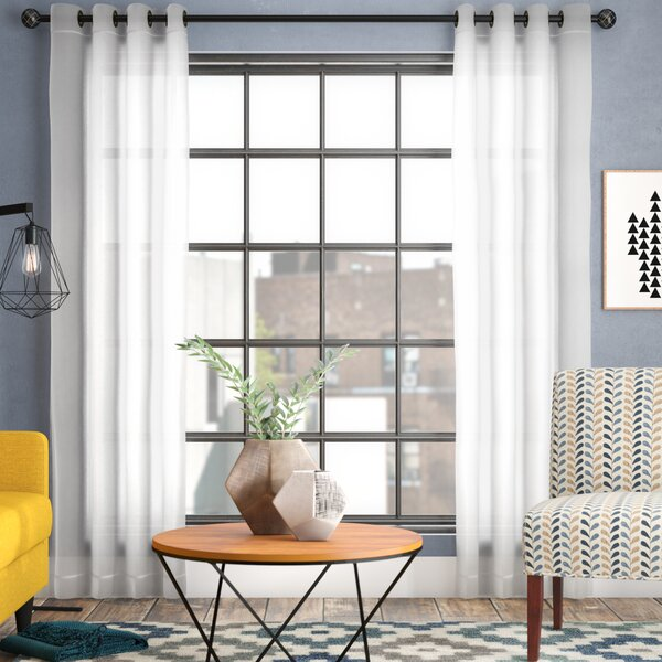 Mcinnis Solid Sheer Grommet Curtain Panels (Set of 2) by Mercury Row