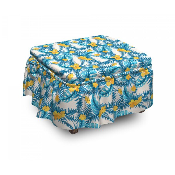 Exotic Leaves And Flowers Ottoman Slipcover (Set Of 2) By East Urban Home