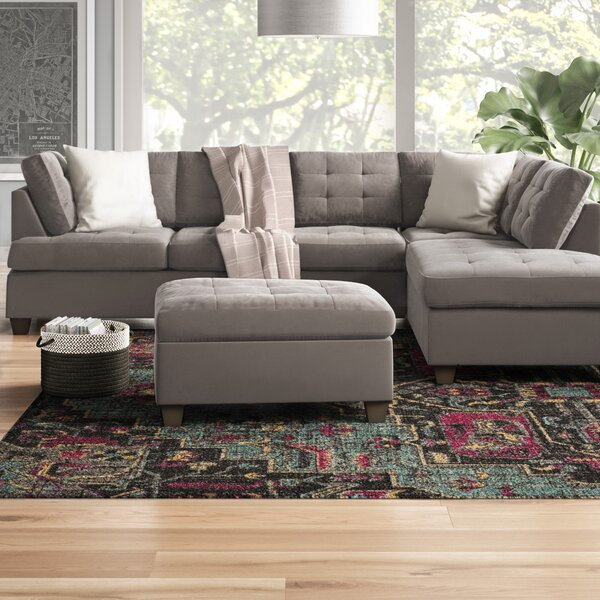 Worksop Reversible Sectional with Ottoman by Ebern Designs
