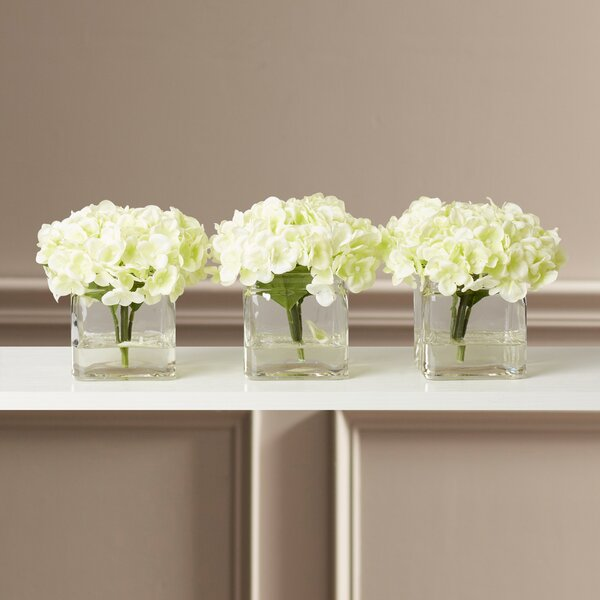 Faux Potted Mini Hydrangea Floral Arrangement in Vase (Set of 3) by Andover Mills