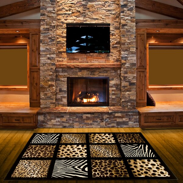 Animal Print Hand-Woven Black/Beige Area Rug by LYKE Home