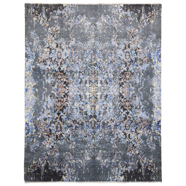One-of-a-Kind Letterly Oriental Hand-Knotted Wool Blue Area Rug by Isabelline