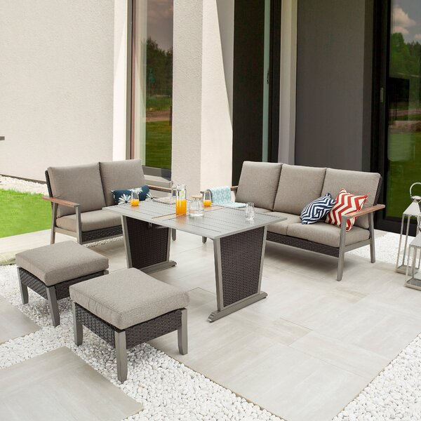 Secil Outdoor 5 Piece Sofa Seating Group with Cushions by Latitude Run
