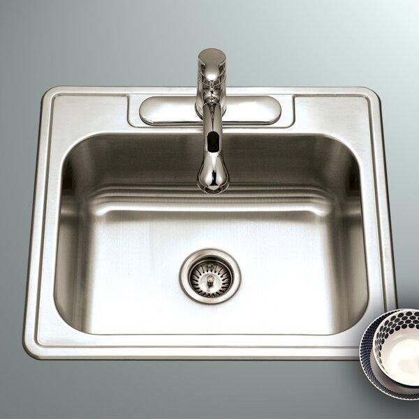 Glowtone ADA Compliant 25 L x 22 W Topmount Single Bowl 18 Gauge Kitchen Sink by Houzer