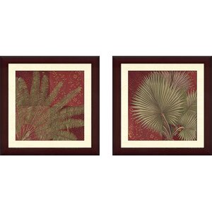 'Crimson Palm' 2 Piece Framed Graphic Art Print Set by Red Barrel Studio