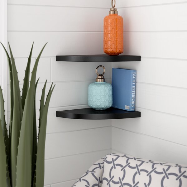 Rustic Corner Radial Corner Shelf (Set of 2) by Beachcrest Home