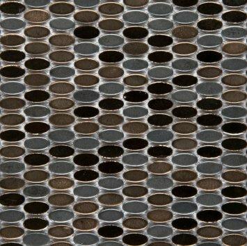 Confetti Porcelain Oval Mosaic Tile in Glazed Black by Emser Tile