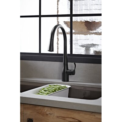 Kitchen Faucet Single Handle Sweep Spray Matte Black 1335 Product Photo