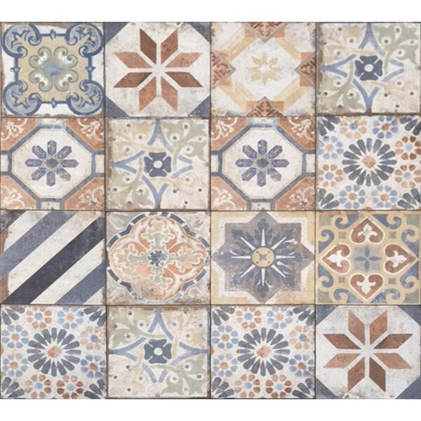 Havana 8 x 8 Porcelain Field Tile in Finca Deco Mix by Tesoro
