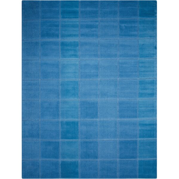 Aspasia Hand-Tufted Blue Area Rug by Ebern Designs
