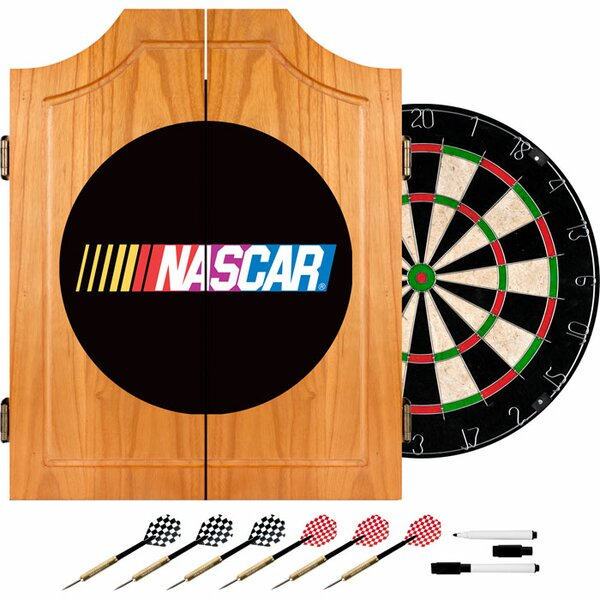 NASCAR Beveled Wood Dart Cabinet Set by Trademark Global
