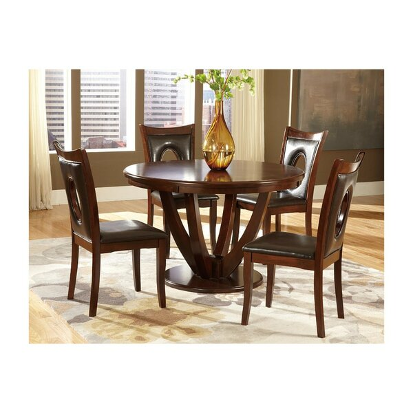 Lakshmi Transitional Wooden Round Pedestal 5 Piece Dining Table Set by World Menagerie