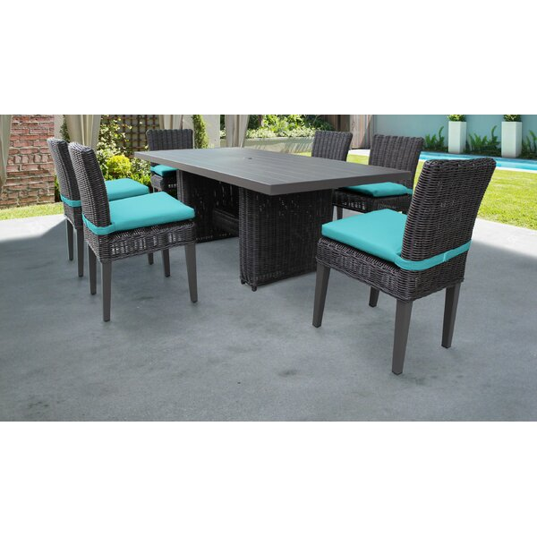 Venice 7 Piece Outdoor Patio Dining Set with Cushions by TK Classics