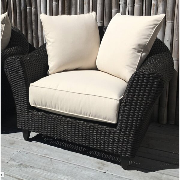 Vickey Outdoor Wicker Patio Chair with Sunbrella Cushions by Darby Home Co Darby Home Co