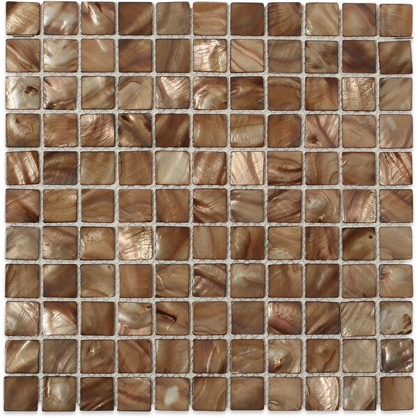 Baroque 1 x 1 Glass Pearl Shell Mosaic Tile in Beige by Splashback Tile