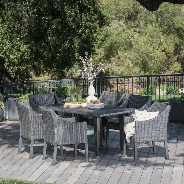 Adalheid Outdoor Wicker Rectangular 7 Piece Dining Set with Cushions by One Allium Way