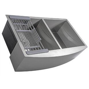 33 x 22 Farmhouse Apron Stainless Steel Double Bowl 50/50 Kitchen Sink w/ Adjustable Tray and Drain Strainer Kit ByAKDY