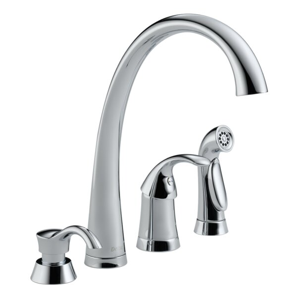 Pilar Single Handle Kitchen Faucet with Side Spray by Delta