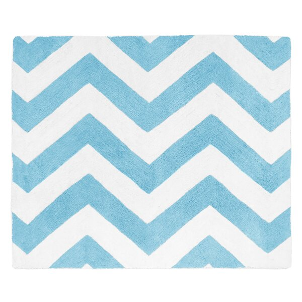 Chevron Turquoise / White Area Rug by Sweet Jojo Designs