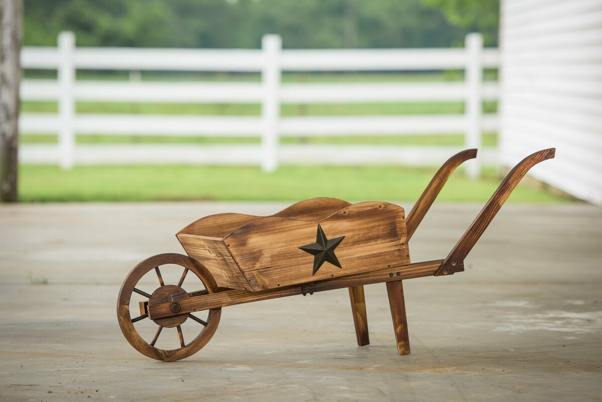 Char Log Pine Wheelbarrow Planter