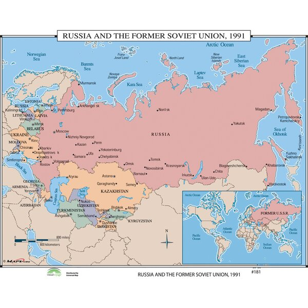 World History Wall Maps - Russia & the Former Soviet Union 1991 by Universal Map