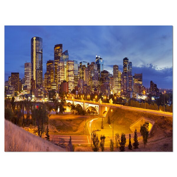 Skyline of Calgary at Night Panorama Cityscape Photographic Print on Wrapped Canvas by Design Art