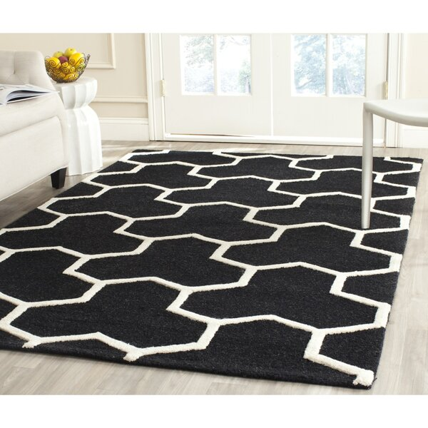 Martins Hand-Tufted Wool Black/Ivory Area Rug by Wrought Studio