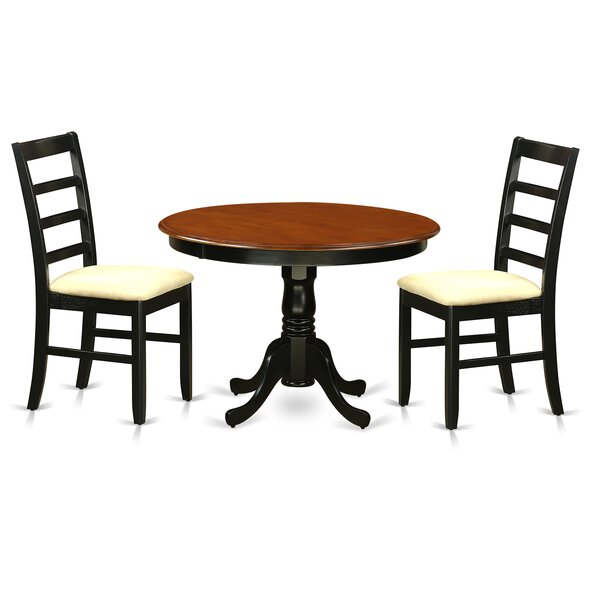 Travis 3 Piece Solid Wood Dining Set by August Grove August Grove