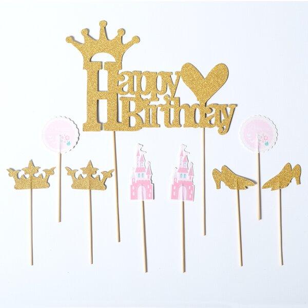 9 Piece Princess Cake Topper Set by Paper Jazz