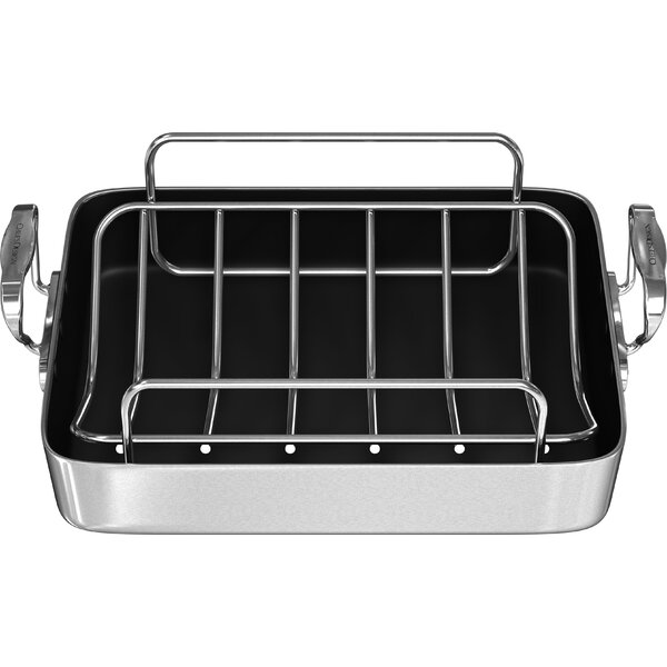 14 Polished Aluminum French Roaster with Rack by Chef's Design