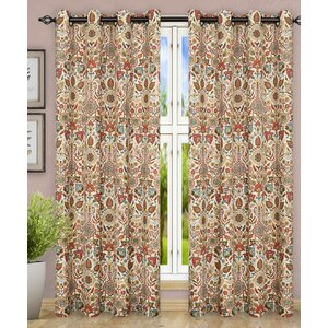 Adelle Jacobean Top Nature / Floral Semi-Sheer Grommet Curtain Panels (Set of 2)