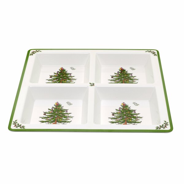 Christmas Tree Melamine Divided Serving Dish by Sp