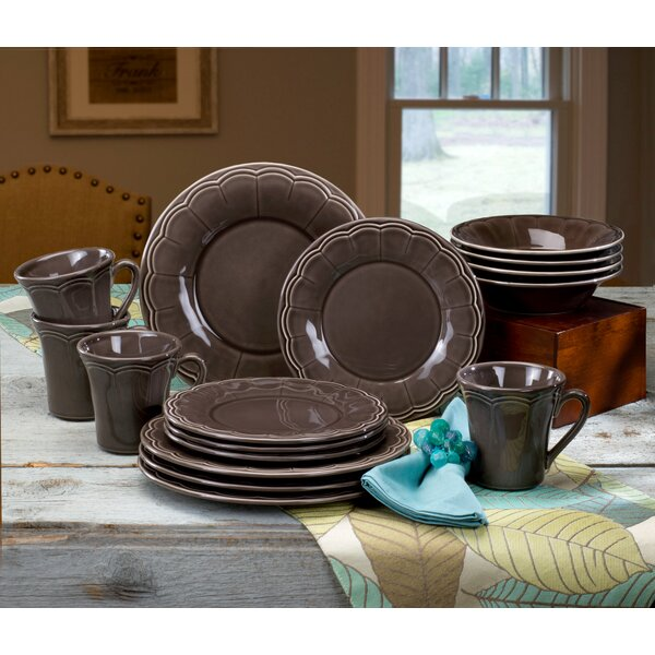 Naperon 16 Piece Dinnerware Set, Service for 4 by Euro Ceramica