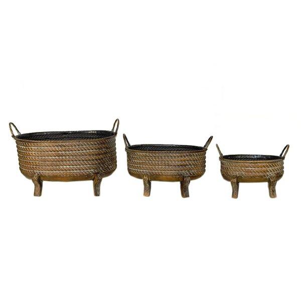 Brocklehurst 3-Piece Metal Pot Planter Set by World Menagerie