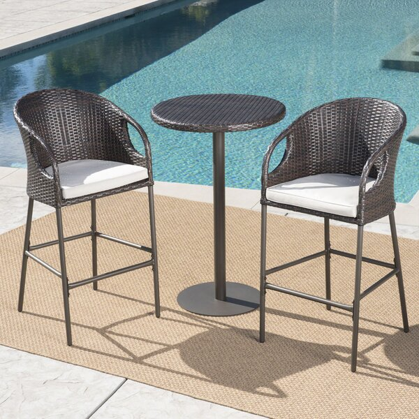 Cordelia 3 Piece Bar Height Dining Set with Cushions by Brayden Studio