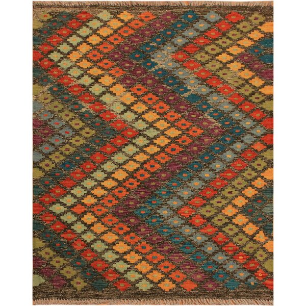 One-of-a-Kind Bakerstown Hand-Woven Orange/Blue Area Rug by Bloomsbury Market