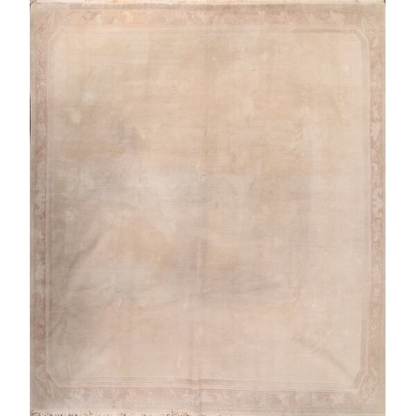 Comerfo Nepal Traditional Oriental Classical Hand-Knotted Wool Beige/Ivory Area Rug by Ophelia & Co.
