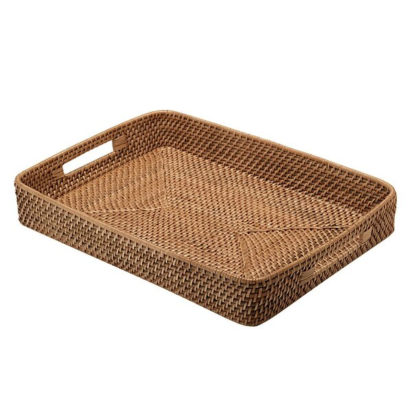 Rectangular Honey Brown Rattan Serving Tray by Mint Pantry