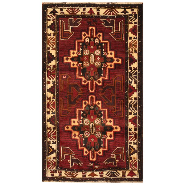 One-of-a-Kind Prentice Hand-Knotted Wool Red/Ivory Area Rug by Isabelline