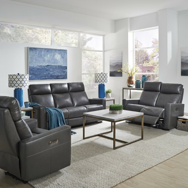 Pell Power Motion Reclining 3 Piece Leather Living Room Set by Latitude Run