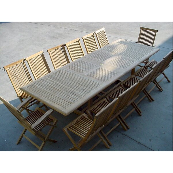 Bourg 12 Piece Teak Dining Set by Freeport Park