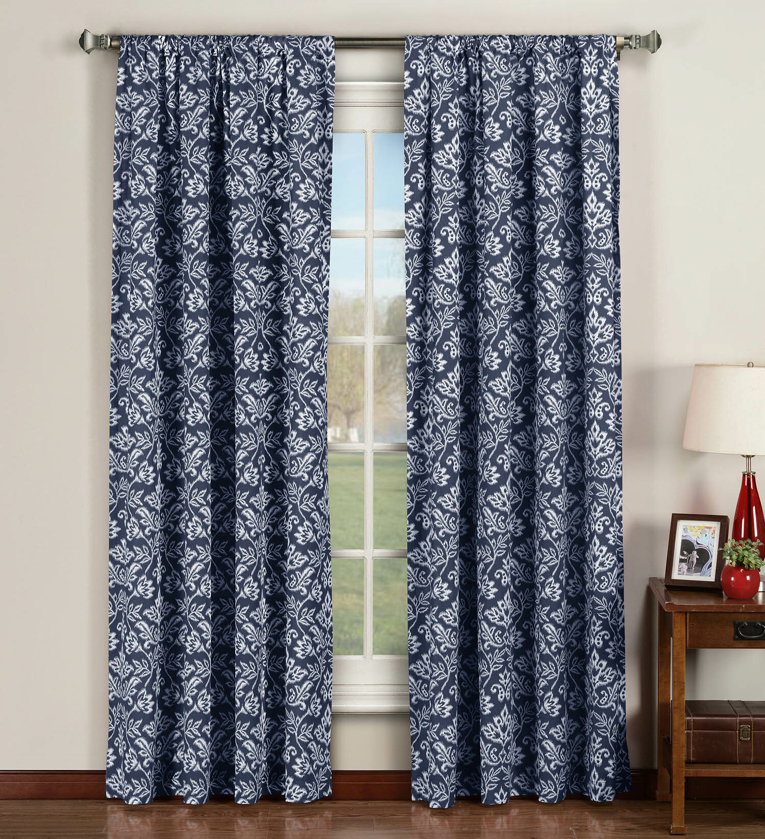 Window Elements Victoria Nature/Floral Sheer Curtain Panels ...