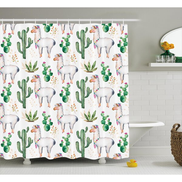 Lindsey Hot South Desert Plant Cactus Pattern With Camel Animal Modern Colored Image Shower Curtain by Ebern Designs