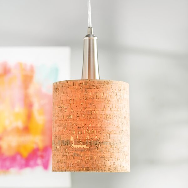 Mustin Cork 1-Light Cylinder Pendant by Bay Isle Home