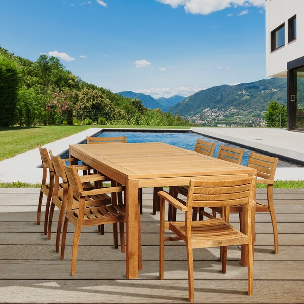 Yvette International Home Outdoor 9 Piece Teak Dining Set by Rosecliff Heights