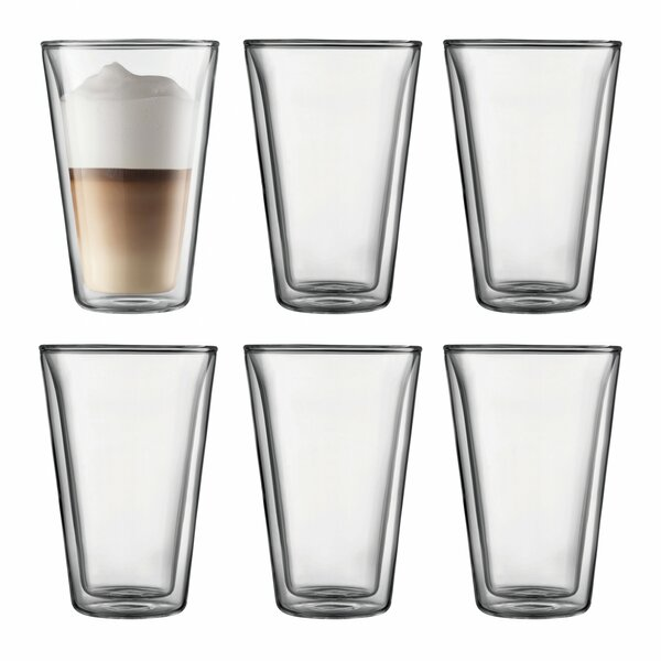 Canteen 13.5 oz. Glass Glassware Set (Set of 6) by Bodum